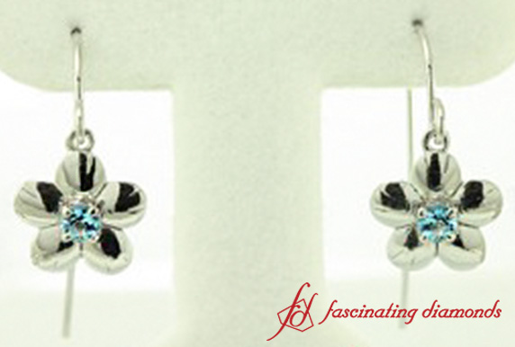 Flower Design Blue Topaz Earring