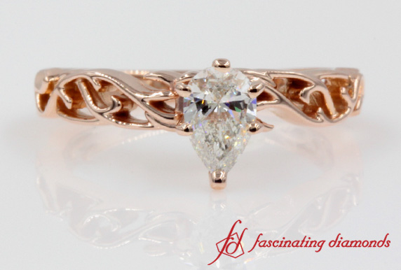 Intricate Pear Diamond Ring