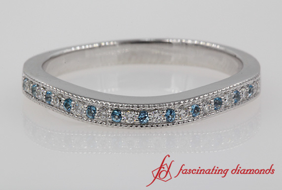 Milgrain Pave Blue Topaz Wedding Band