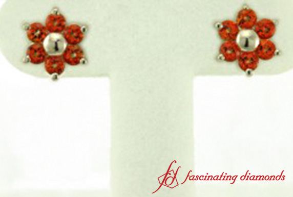 Orange Topaz Stud Earring