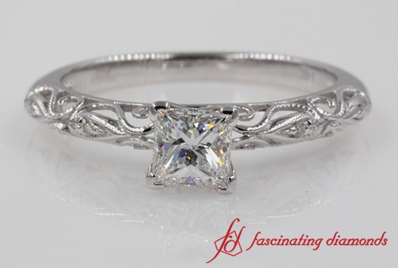 Filigree Princess Cut Ring