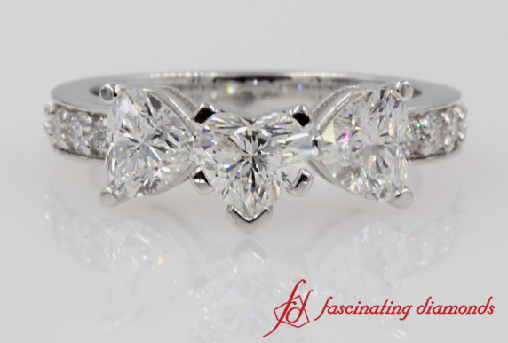 Pave 3 Heart Engagement Ring