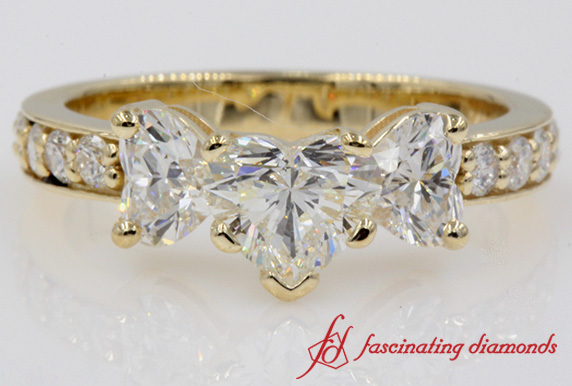 Pave 3 Stone Diamond Ring