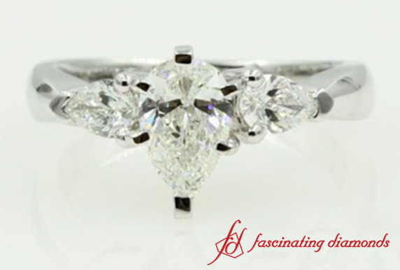 Pear Cut 3 Stone Engagement Ring