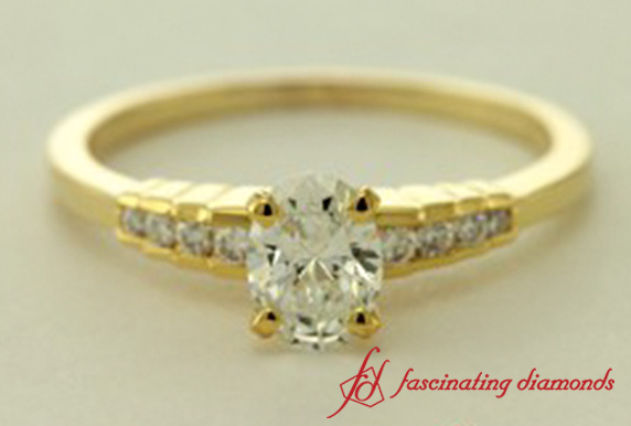 Petite Oval Cut Diamond Wedding Ring In Gold
