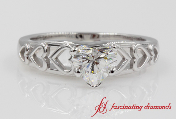 Platinum Heart Design Solitaire Diamond Engagement Ring