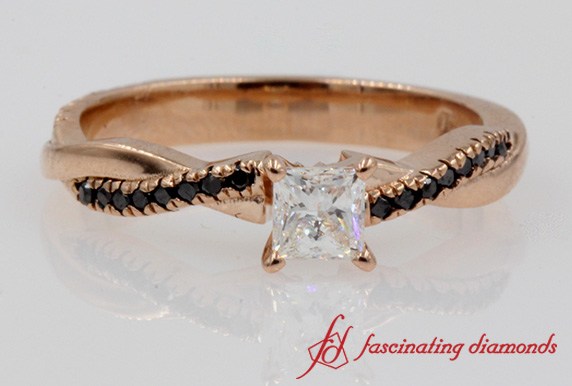 Princess Diamond Braided Ring