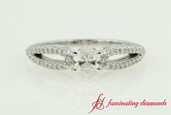 Loop Split Diamond Wedding Ring