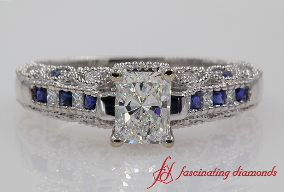 Radiant Diamond Sapphire Antique Ring