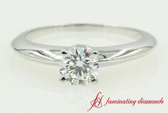 Round Cut Diamond Solitaire Engagement Ring In White Gold