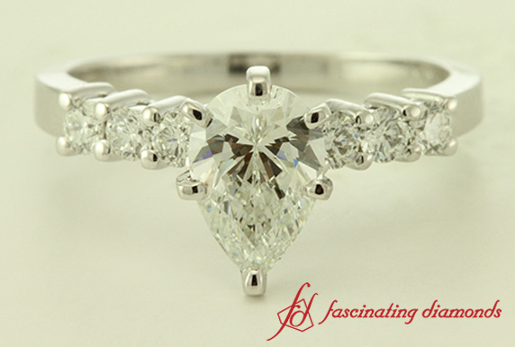 Side Stone Pear Diamond Ring