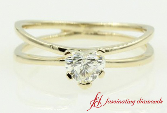 Split Heart Diamond Solitaire Ring