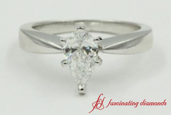Tapered-Pear-Diamond-Solitaire-Engagement-Ring-In-White-Gold-FDENR1282