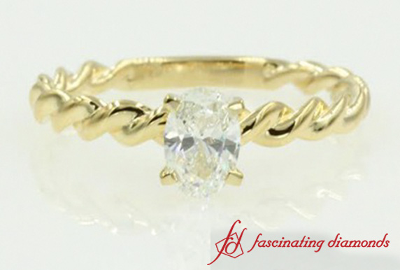 Twisted Oval Diamond Solitaire Ring