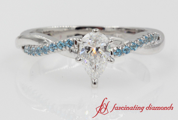 3/4 Carat Twisted Pear Diamond Ring