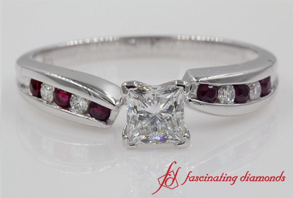 Unique Swirl Diamond Ring With Ruby