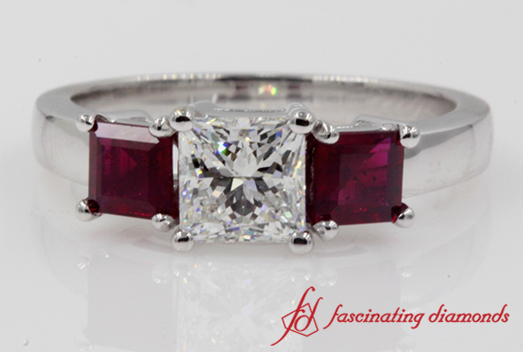Princess Cut Ruby 3 Stone Ring