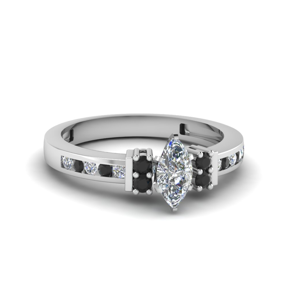 Marquise Black Diamond Engagement Rings