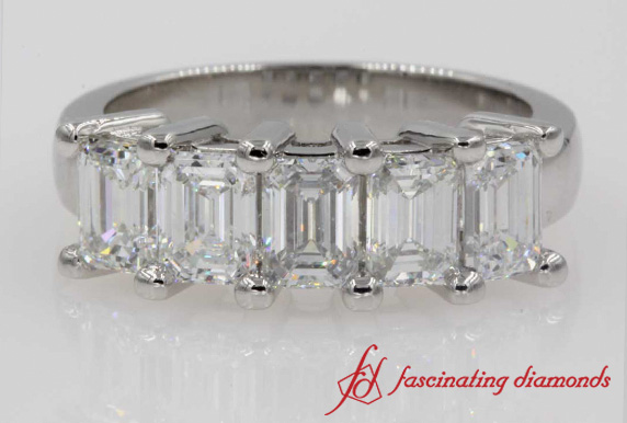 Emerald Cut 5 Stone Band 2 Ct.