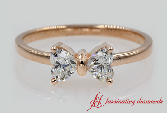 2 Heart Diamond Bow Design Ring