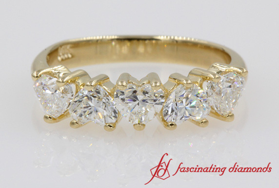 5 Stone Heart Shaped Wedding Band In Gold