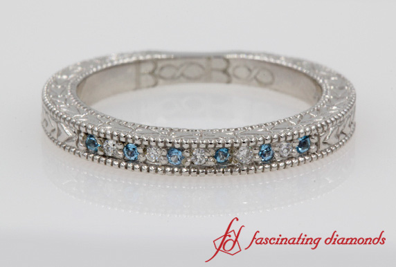 Art Deco Pave Blue Topaz Wedding Band