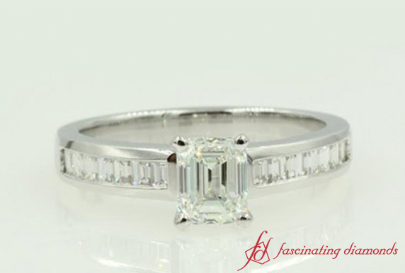 Channel Baguette Emerald Cut Ring