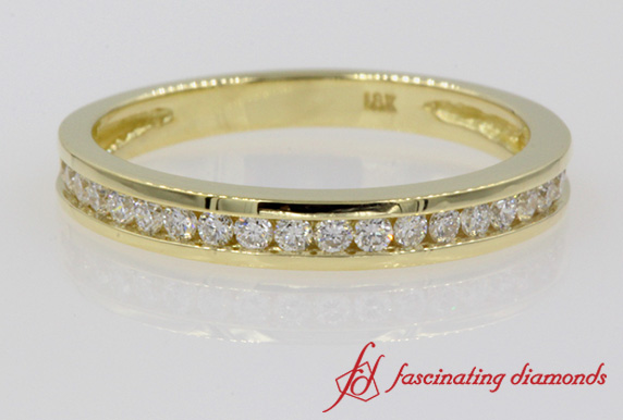 Channel Set Round Diamond Wedding Band