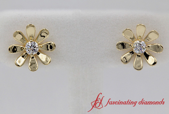 Single Stone Flower Stud Earring