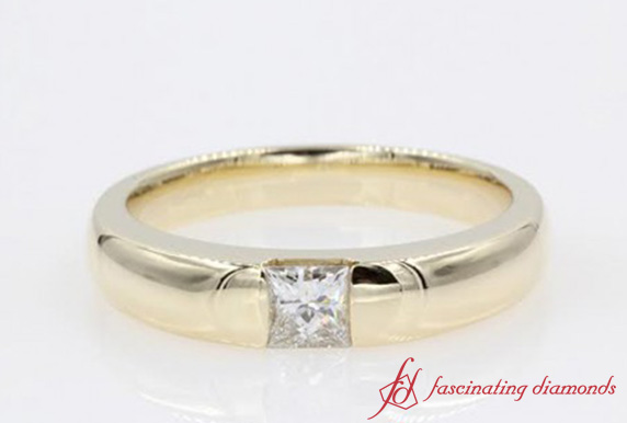 Half Bezel Solitaire Princess Cut Ring