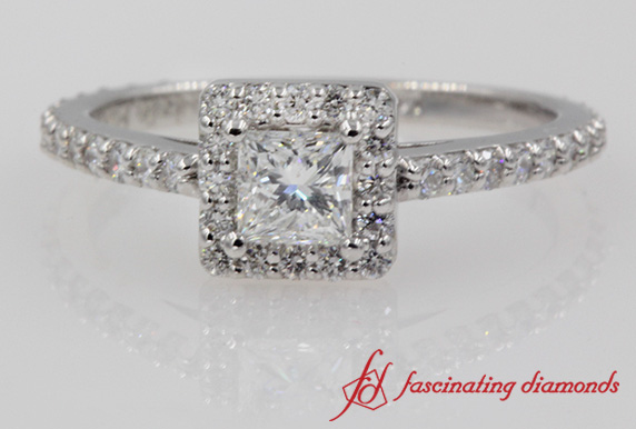 Floating Halo Princess Diamond Ring