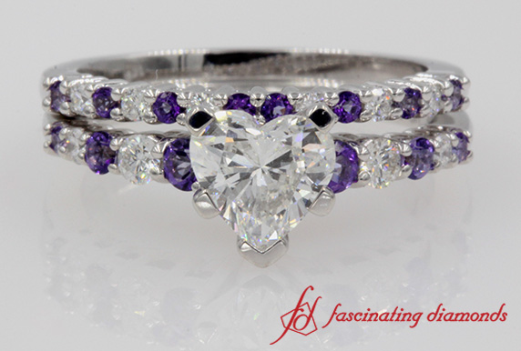 Graduated Diamond Wedding Set With Purple Topaz In White Gold