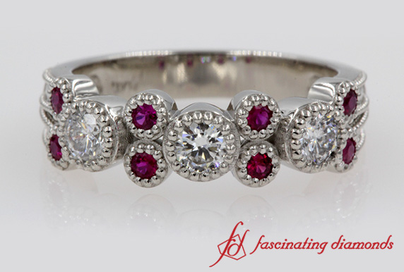 Half Eternity Milgrain Ruby Band