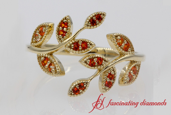 Open Leaf Orange Topaz Wedding Ring