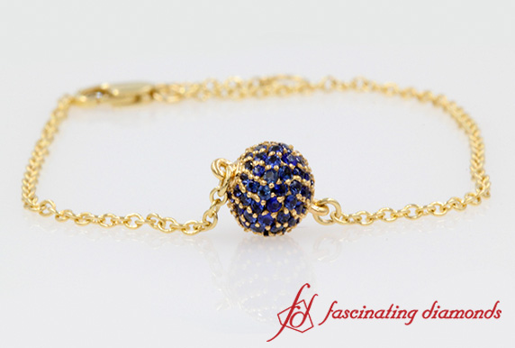 Yellow Gold Pave Ball Bracelet