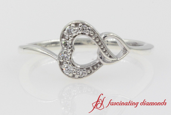 Pave Heart Promise Ring