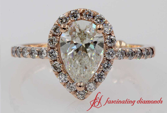Halo Pear Diamond Ring
