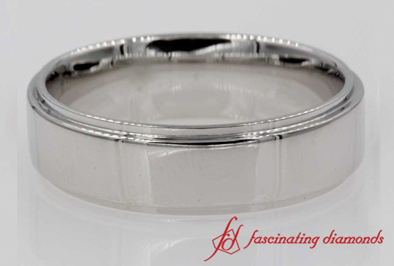 Plain Flat Mens Wedding Band