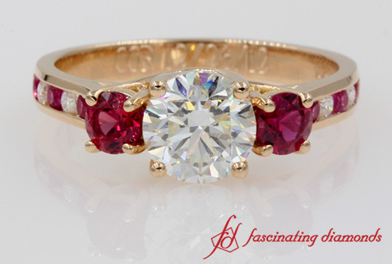 Trellis Channel Set Diamond Ring With Ruby