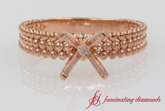 Rose Gold Bead Ring Setting