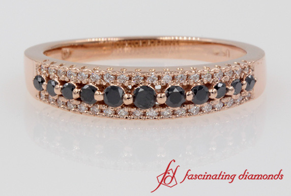 Triple Row Black Diamond Wedding Band