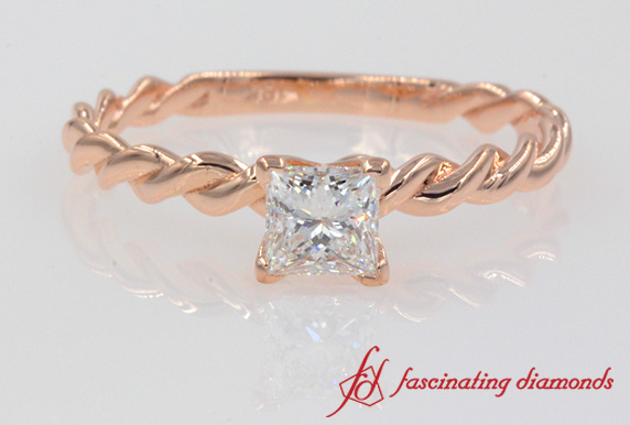 Rope Princess Cut Ring