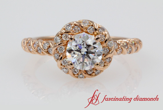 Twisted Round Diamond Ring With Halo