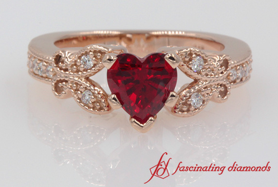 Vintage Heart Ruby Wedding Ring
