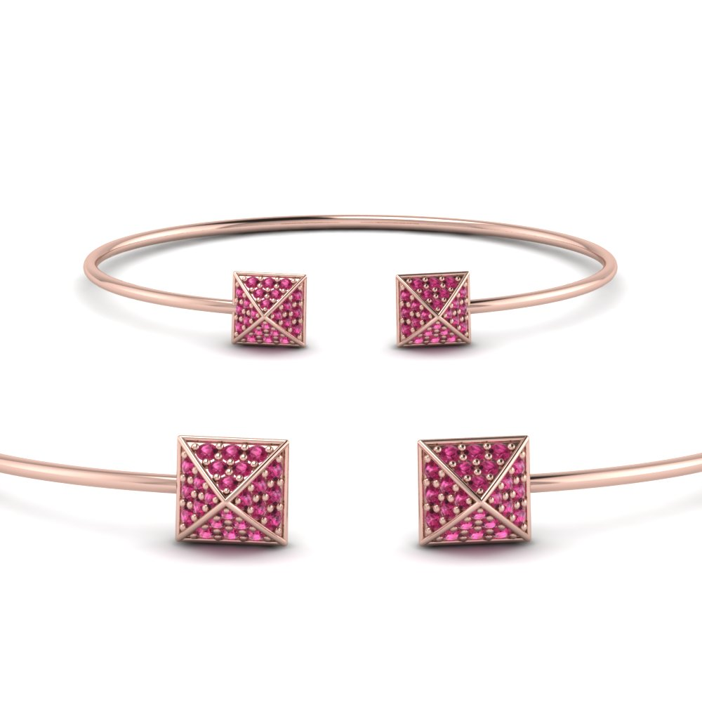 Pave Pink Sapphire Open Cuff Bracelet