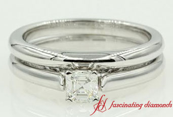 Asscher Cut Diamond Cathedral Wedding Ring Set In White Gold