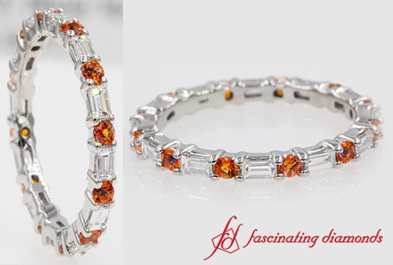 Baguette Diamond Eternity Band With Orange Topaz In White Gold