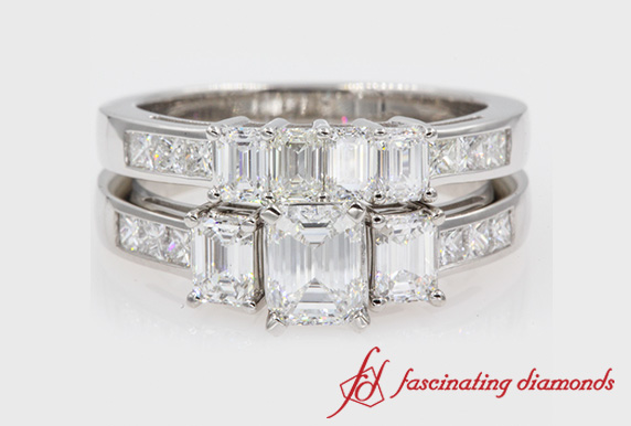 Emerald Cut 3 Stone Ring Set
