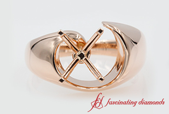 Contemporary Swirl Engagement Ring Setting In Rose Gold