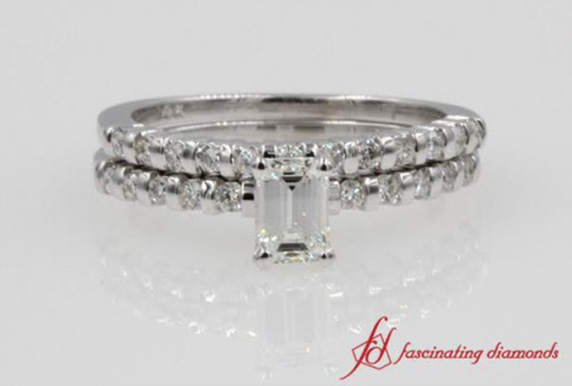 Emerald Cut Bar Wedding Set